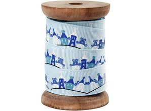 DEKOBAND / RIBBONS / RUBANS ... Exclusive grosgrain ribbon on wooden spool, light blue