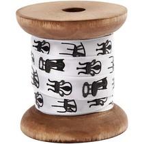 Satinband auf Holzspule, schwarz/weiß