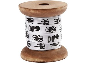DEKOBAND / RIBBONS / RUBANS ... Satin ribbon on wooden spool, black / white
