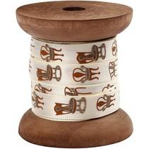 Satin-Band auf Holzspule, creme/gold