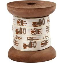 DEKOBAND / RIBBONS / RUBANS ... Satin ribbon on wooden spool, cream / gold