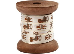 DEKOBAND / RIBBONS / RUBANS ... Satin ribbon on wooden spool, cream / gold