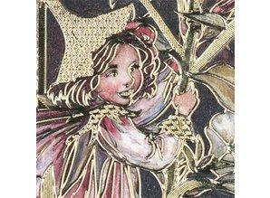Sticker Bastelset Blumenelfen, Bogen A4 und geprägte Sticker in gold.