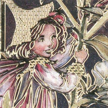Sticker Bastelset blomst alfer, ark A4 og prægede klistermærker i guld.