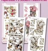Sticker Elfos de flores Bastelset, hojas A4 y pegatinas en relieve en oro.