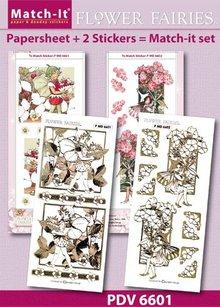 Sticker Elfi Bastelset fiori, fogli adesivi A4 e rilievo in oro.