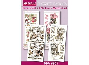 Sticker Bastelset flower elves, sheets A4 and embossed stickers in gold.