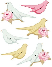Tilda Tilda pulsanti aggiuntivi per uccelli decorazione, 40 x 15-45 x 20 mm, 6pz.