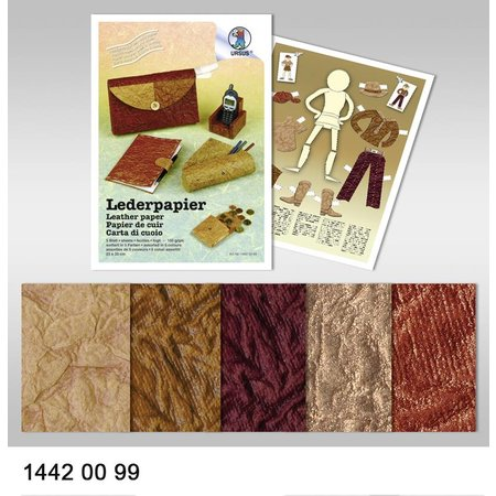 DESIGNER BLÖCKE  / DESIGNER PAPER 250 G PAPEL DE CUERO, 23x33cm, 5Blatt.5F.SORTIERT