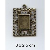 1 Charm, Rahmen 3 x 2,5cm, Metall