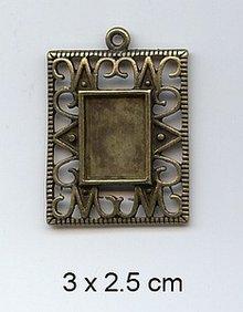 Embellishments / Verzierungen 1 Charm, Frame 3 x 2.5 cm, metal