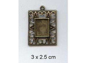 Embellishments / Verzierungen 1 Charm, Rahmen 3 x 2,5cm, Metall