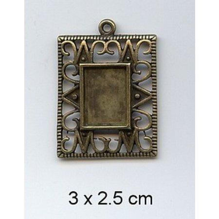 Embellishments / Verzierungen 1 Charm, Frame 3 x 2.5 cm, metaal