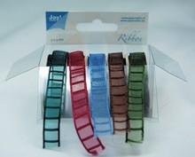 DEKOBAND / RIBBONS / RUBANS ... Organza Bänderset, 9 mm di larghezza, 5 colori