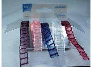 DEKOBAND / RIBBONS / RUBANS ... Organza Bänderset, 9 mm de ancho, 5 colores