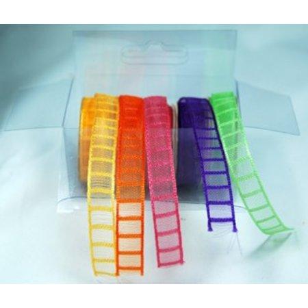 DEKOBAND / RIBBONS / RUBANS ... Organza-Bänderset , 9mm breit, 5 Farben