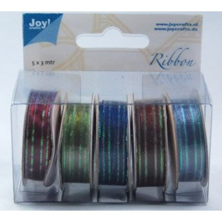 DEKOBAND / RIBBONS / RUBANS ... Organza Bänderset, 9mm bred, 5 farver