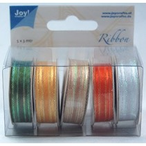 Organza Bänderset, 9mm breed, 5 kleuren