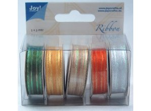DEKOBAND / RIBBONS / RUBANS ... Organza Bänderset, 9mm wide, 5 colors