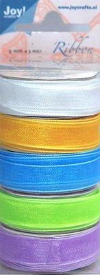 DEKOBAND / RIBBONS / RUBANS ... Organza Bänderset, 9mm breed, 5 kleuren