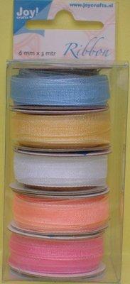 Joy!Crafts und JM Creation Organza Bänderset, 6 millimetri di larghezza, 5 colori