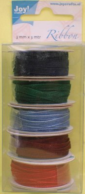 DEKOBAND / RIBBONS / RUBANS ... Organza Bänderset, 3mm wide, 5 colors