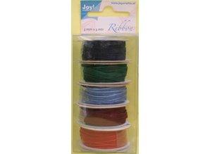 DEKOBAND / RIBBONS / RUBANS ... Organza-Bänderset , 3mm breit, 5 Farben