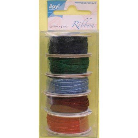 DEKOBAND / RIBBONS / RUBANS ... Organza Bänderset, ancho, 5 colores 3mm