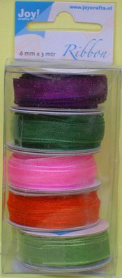 DEKOBAND / RIBBONS / RUBANS ... Organza Bänderset, 6 millimetri di larghezza, 5 colori