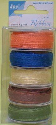DEKOBAND / RIBBONS / RUBANS ... Organza Bänderset, 6mm wide, 5 colors