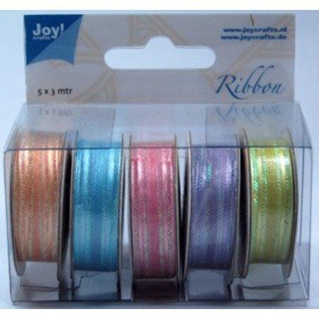 Joy!Crafts und JM Creation Organza-Bänderset , 9mm breit, 5 Farben