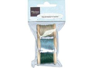 BASTELZUBEHÖR / CRAFT ACCESSORIES thicker yarn on a small wooden spool: beige / blue / green