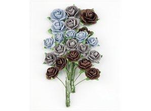 BLUMEN (MINI) UND ACCESOIRES Marianne Design Paper Roses Navy Blue.
