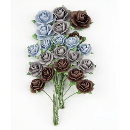 BLUMEN (MINI) UND ACCESOIRES Marianne Design Paper Roses Azul marino.