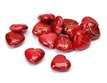 Embellishments / Verzierungen Hjerter, rød, 1,5 cm, 24pcs i en pose plast.