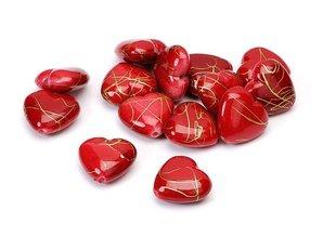 Embellishments / Verzierungen Corazones, rojo, 1,5 cm, 24pcs en una bolsa de plástico.