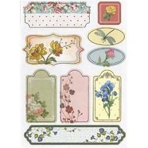 Spaanplaat Stickers, nostalgie bloemen.