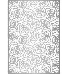 Joy!Crafts und JM Creation Lin & Lene, Embossing A6 background roses + leaves.
