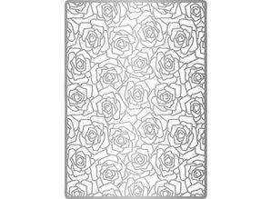 Joy!Crafts und JM Creation Line & Lene, Embossing stencil A6.Hintergrund Roses + leaves