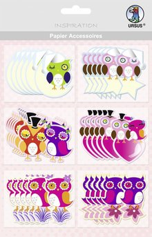 Embellishments / Verzierungen Paper Accessories, Owl: 36 parts!
