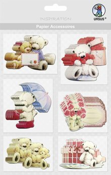 Embellishments / Verzierungen Chip boards, bears: 36 parts!