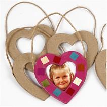 Papmache hjerter ramme til dekoration.