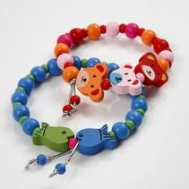 Bastelset, für Kinder Armbänder aus Holzperlen.