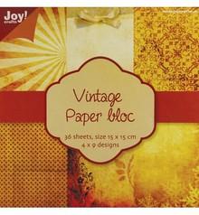 DESIGNER BLÖCKE  / DESIGNER PAPER Vintage paper bloc 1, 36 p., 4x9 15x15cm designs