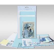 """Kartensets zum Selbstgestalten, """"Blue hearts"""", für 4 Karten, Grösse 11,5 x 21 cm und 11,5 x 17 cm"""