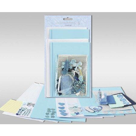 "KARTEN und Zubehör / Cards Set di carte per essere personalizzato, ""cuori azzurri"", per 4 carte, dimensioni 11,5 x 21 cm e 11,5 x 17 cm"