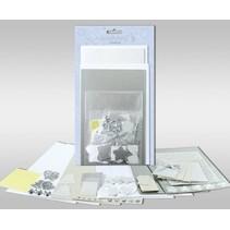 """Kartensets zum Selbstgestalten, """"Silver"""", für 4 Karten, Grösse 11,5 x 21 cm und 11,5 x 17 cm"""