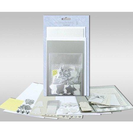 """KARTEN und Zubehör / Cards Sæt af kort, der skal personlig, """"Sølv"""", for 4 kort, str. 11,5 x 21 cm og 11,5 x 17 cm"""