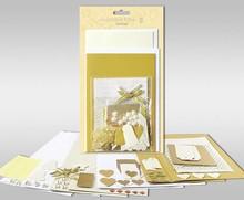 """Exlusiv Sæt af kort til at være personlig, """"guld"""", 4 kort, størrelse 11,5 x 21 cm og 11,5 x 17 cm"""