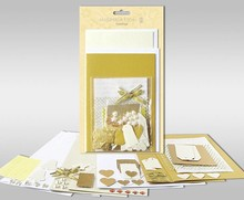 "Exlusiv Sets of cards to be personalized, ""gold"", 4 cards, size 11.5 x 21 cm and 11.5 x 17 cm"
